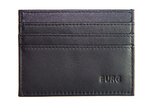 BLACK LEATHER CARD HOLDER WITH RFID