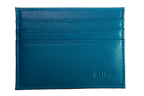 TEAL LEATHER CARD HOLDER WITH RFID