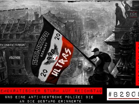 Demokratischer Sturm auf das Reichstagsgebäude und die anti-deutsche Polizei