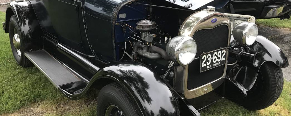 A '28 Ford Model A roadster that was found parked among the RI street Rods' club cars.