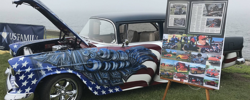 Long-time Newport car-lover Ron McDonald, who left us a couple years ago, was memorialized with his custom '55 Chevy on display for the morning.