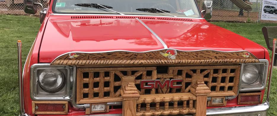 """Alot of custom woodwork (Yes, WOODwork) went into the grille of this """"square-body"""" GMC pickup."""