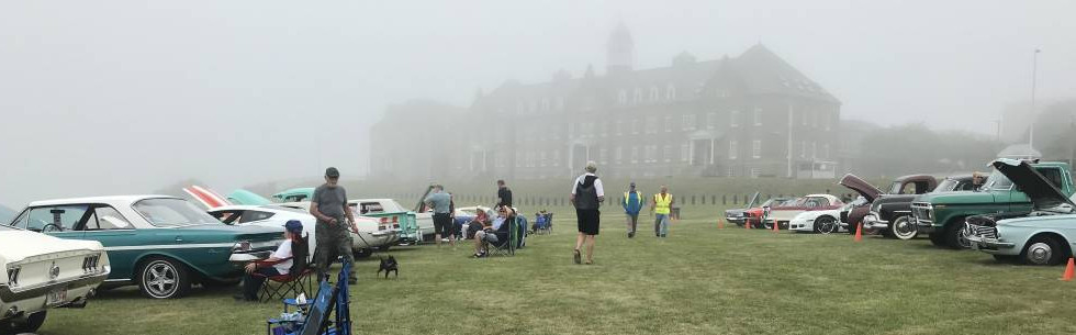 With the Naval War College fading in and out of view in the background, it was not an uncommon weather day for Newport.