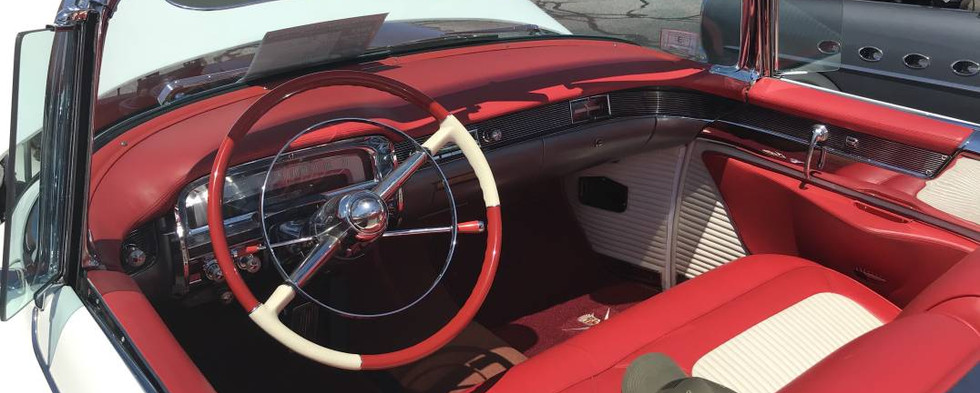 Here's a peek behind the wheel of the day's Best-of-Show winner...Colin D's 1954 Cadillac ElDorado convertible.  Astounding.
