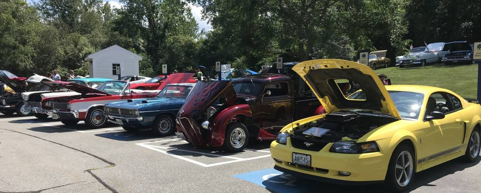 Jack's 2003 Mustang sits at the end of the front row of rides.  Next to it is Tom's tilt-nose 1937 Ford pickup which was also a top winner.