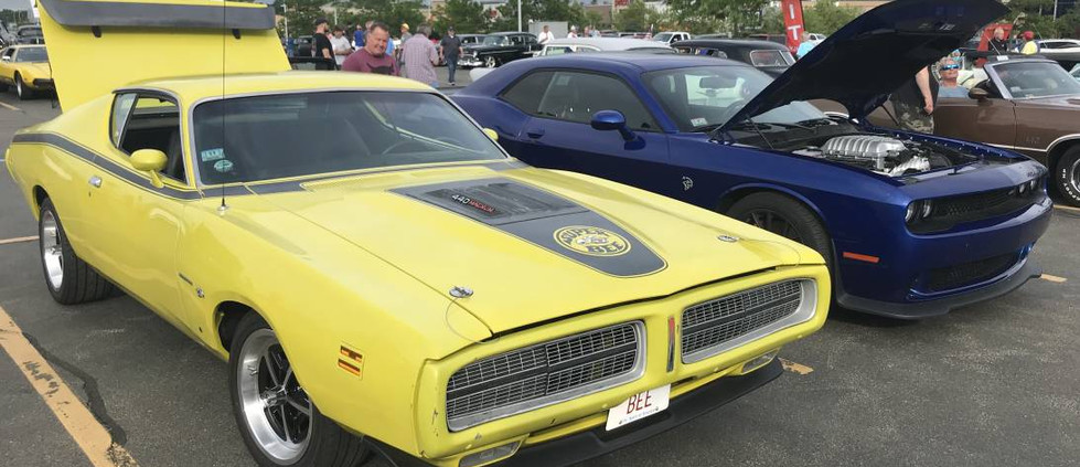 This pair showed the range of Mopar over the years...from an early 70s Superbee to a late-model Challenger.
