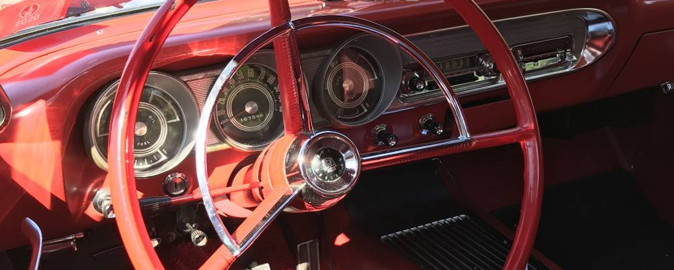 A peek inside Phil S's '63 Ford Fairlane finds a mostly-stock appearance, except for the gauges mounted atop the dashboard.