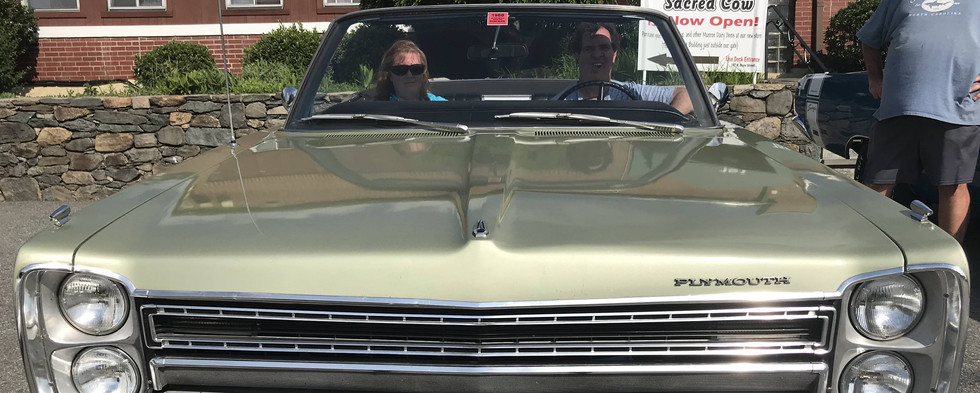 Mike & Keri R. brough the '68 Plymouth Fury convertible on  a perfect top-down night.