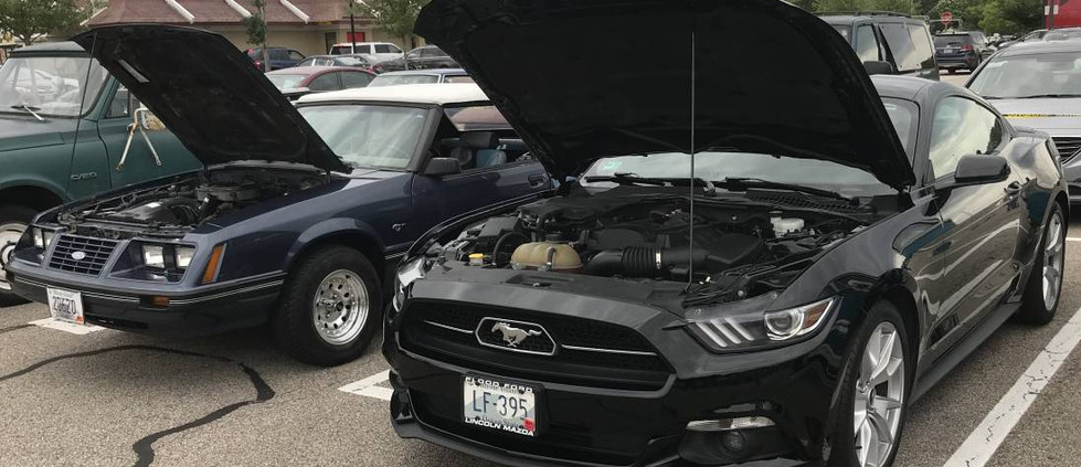 It was a father-and-son cruise night for the Foncellinos...as the younger generation showed off his new set of Mustang wheels (2015), newly-acquired to celebrate his high school graduation this week.