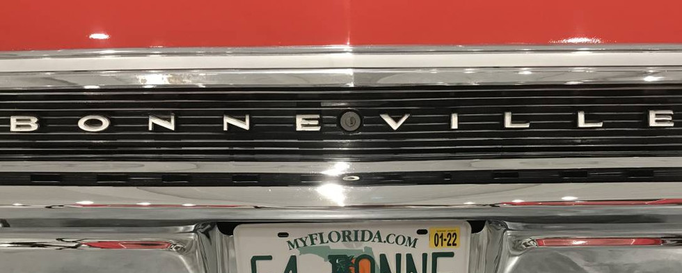 This Bonneville was all the way up from Florida with n ultra-cool vanity tag.