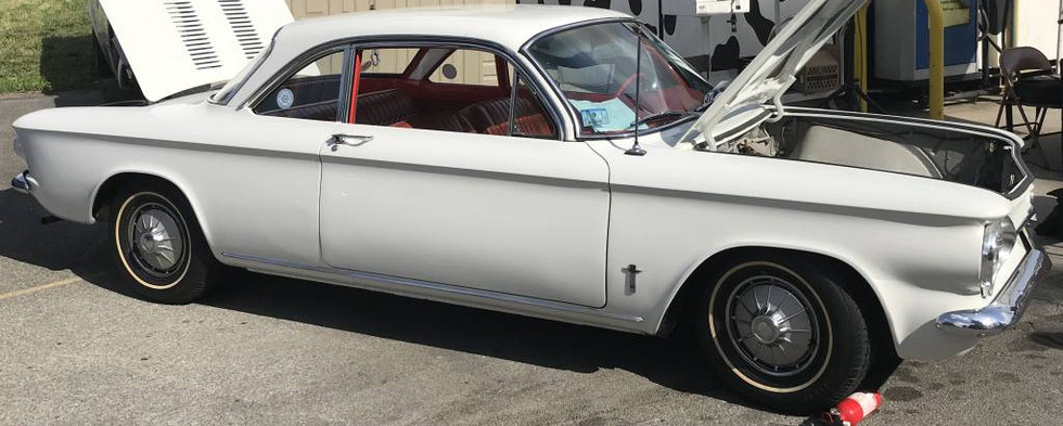 This early Corvair was an interesting sight...though, thanks to several VWs on display, it wasn't the only rear-engined vehicle on the day.