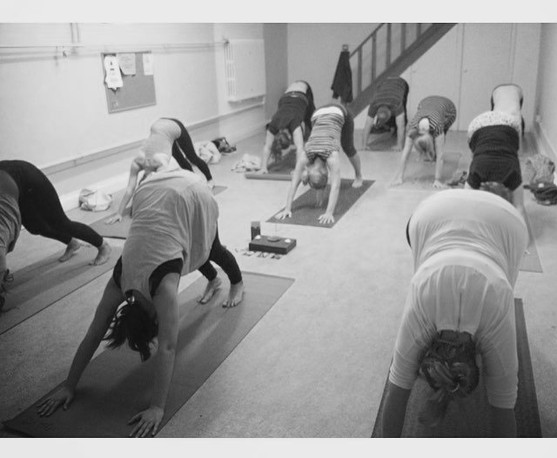yoga at St Martins Epsom, downward facing dog.