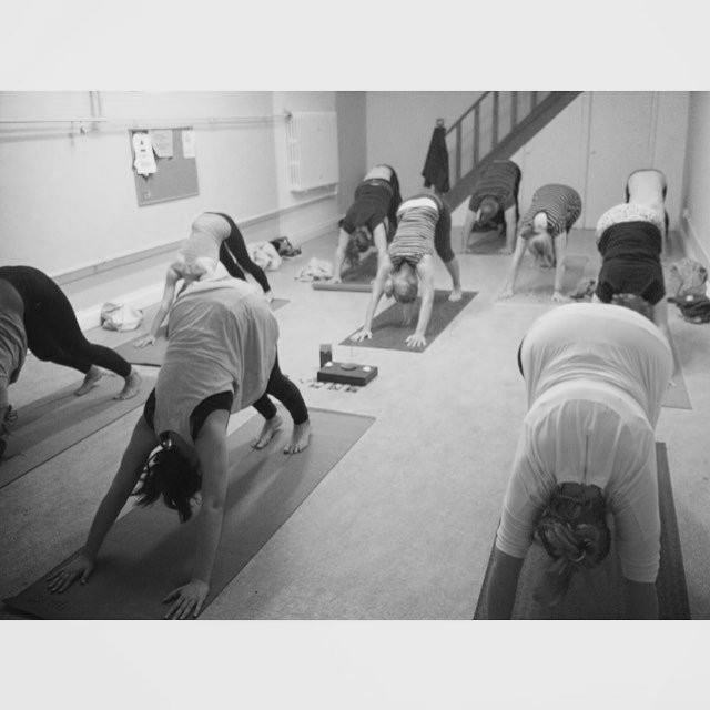 yoga at St Martins Epsom, downward facing dog.