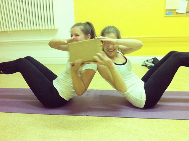 Combining yoga, ab work, and fun... #yog