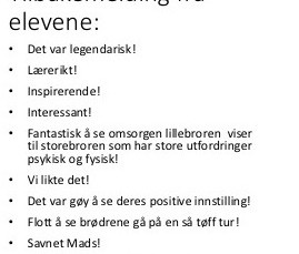 Hyggelig tilbakemelding på foredrag for ungsomsskole i Stavanger