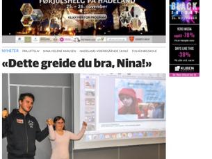 Nina og Lars Martin i avisen Hadeland