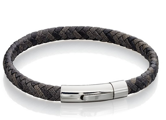 Fred Bennett Woven Grey Mix Leather Bracelet