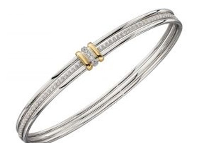 Linked Bangle With Yellow Gold Plating And CZ Detail