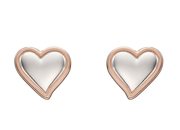 Organic 3D Heart Stud Earrings With Rose Gold Plating
