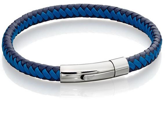 Fred Bennett Woven Blue Leather Bracelet
