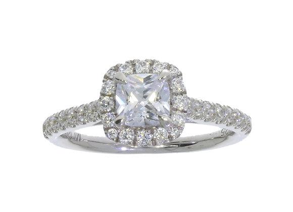 6 Claw Cushion Square Halo Diamond Engagement Ring