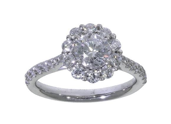 6 Claw Halo 85PT  Diamond Engagement Ring