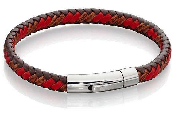 Fred Bennett Woven Tan & Red Leather Bracelet