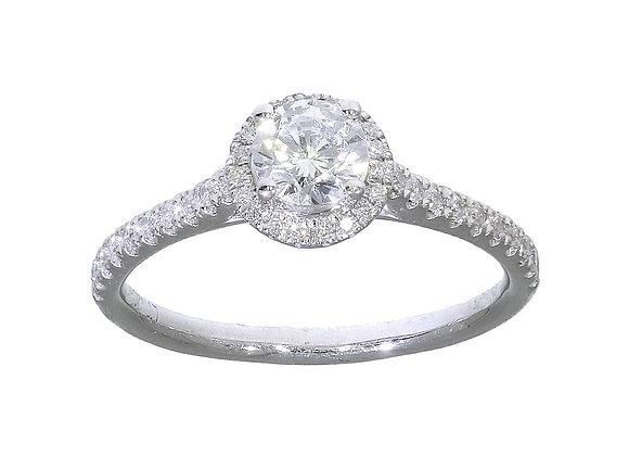 4 claw 50 Pt Diamond Halo Engagement Ring