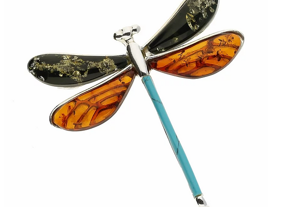 DRAGONFLY AMBER TURQUOISE SILVER BROOCH
