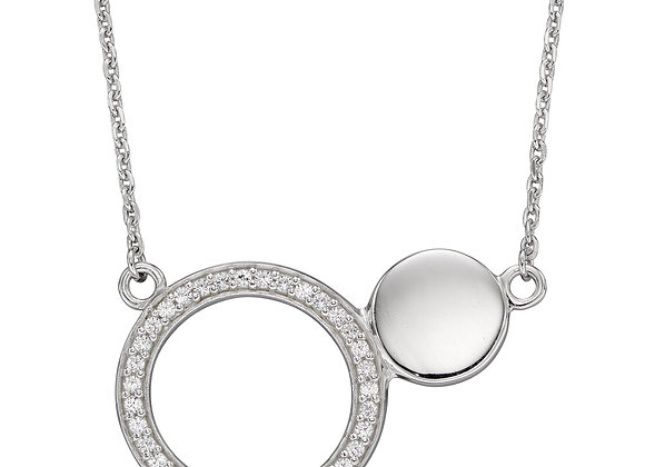 Double Disc Necklace With CZ Channel Setting