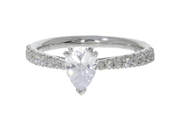 6 Claw Pear 76Pt Diamond Shoulder Engagement Ring