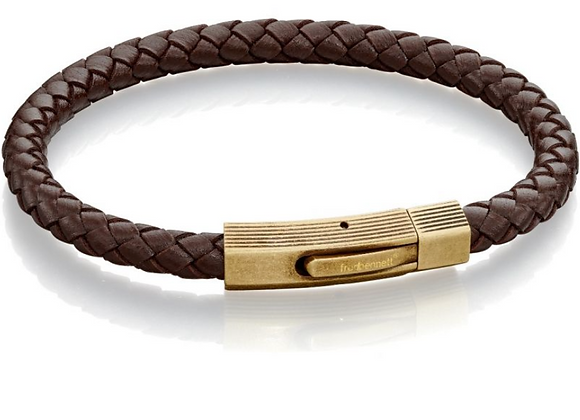Fred Bennett Brown Leather Bracelet with Bronze Clasp