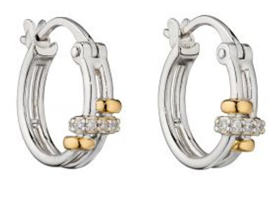 Connected Rings Hoop Earrings With Yellow Gold Plating And CZ Detai