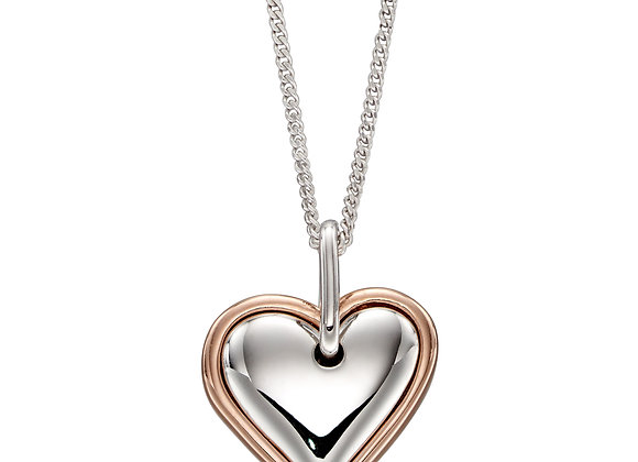Organic 3d Heart Pendant In 2 Parts With Rose Gold Plating