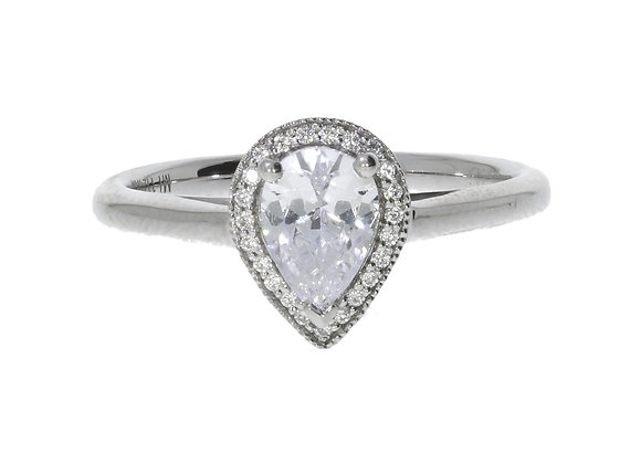 6 Claw Pear Halo 72Pt Diamond Engagement Ring
