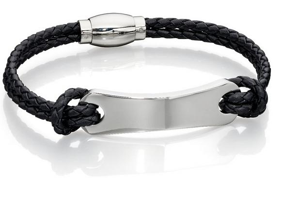 Fred Bennett  Black Leather and Steel Identity Bracelet