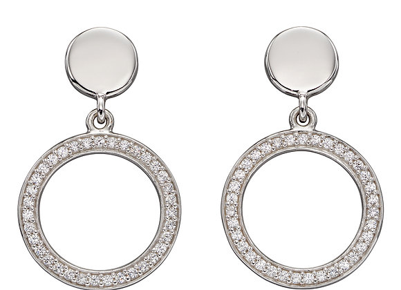 Double Disc With Channel Setting CZ Earrings