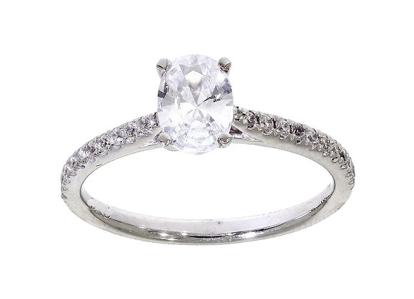 4 Claw Oval Diamond Shoulder Engagement Ring