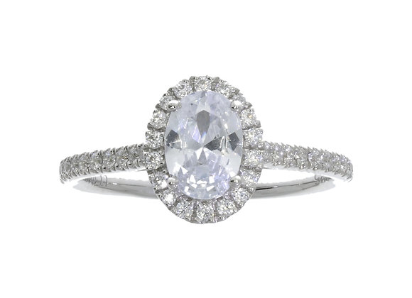 4 Claw 70Pt Oval Halo Diamond Shoulder Engagement Ring