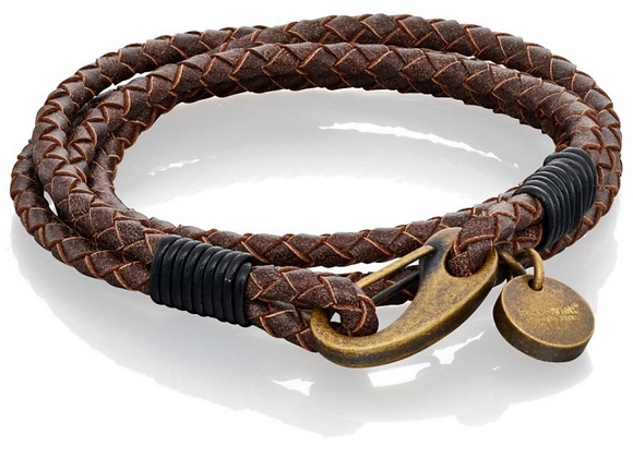 Fred Bennett Tan Wrap Around Leather Bracelet with Burnished Clasp