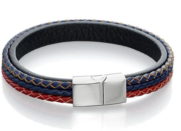 Fred Bennett Red, Blue & Black Leather Bracelet