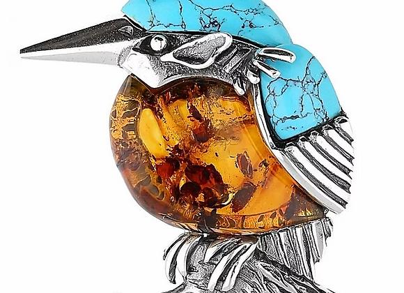 KINGFISHER BIRD BROOCH AMBER TURQUISE OXIDISED SILVER