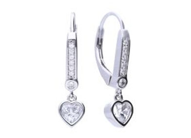 Hoop Earrings With Heart And Pave Detail