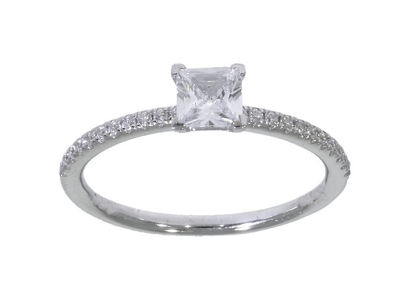 Princess Cut 50Pt Diamond Shoulder 4 ClawEngagement Ring