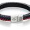 Thumbnail: Fred Bennett Red, Blue & Black Leather Bracelet
