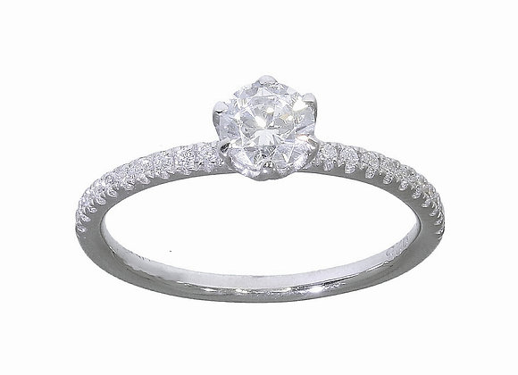 6 Claw Diamond Shoulder Engagement Ring