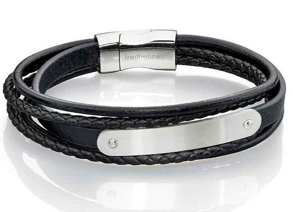Fred Bennett Multi Band Black Leather Bracelet with steel ID