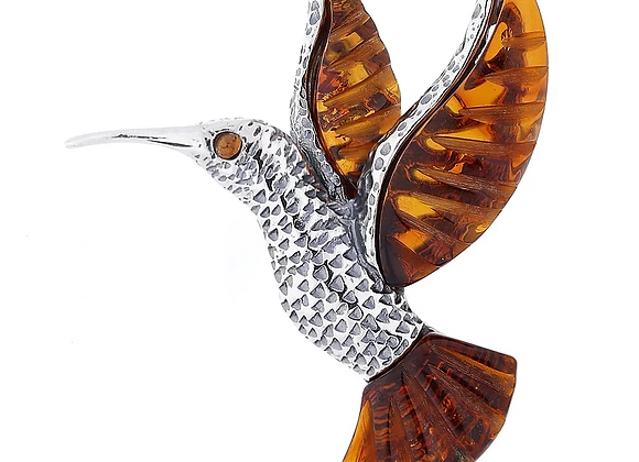 HUMMINGBIRD AMBER BROOCH OXIDISED SILVER