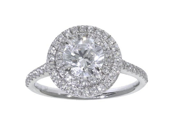 4 Claw Double Halo 1ct  Diamond Engagement Ring