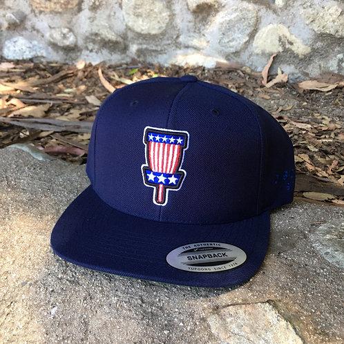 NAVY BLUE - USA FLAG BASKET SNAPBACK - FLATBILL
